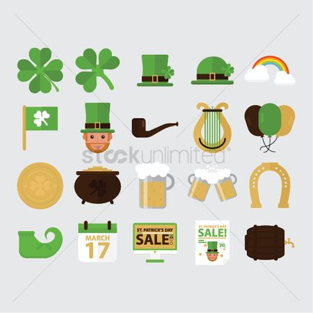 Smoking pipe : Set of st patrick s day icons