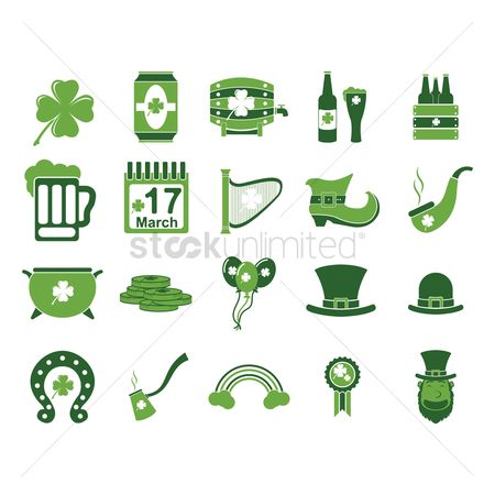 Beer mug : Set of st patricks day icons
