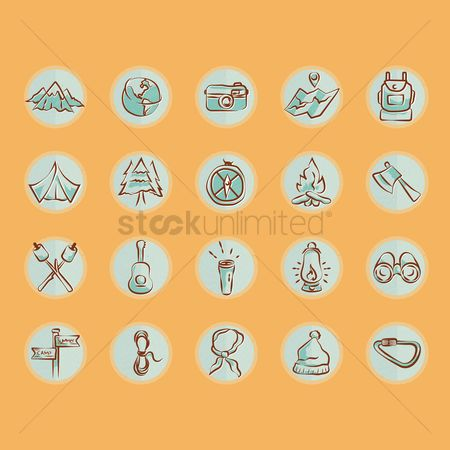 Touring : Set of summer camp icons