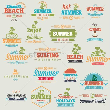 Summer : Set of summer holiday wallpaper