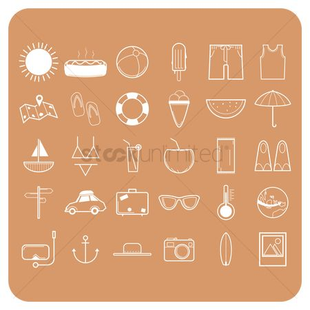 Hotdogs : Set of summer icons