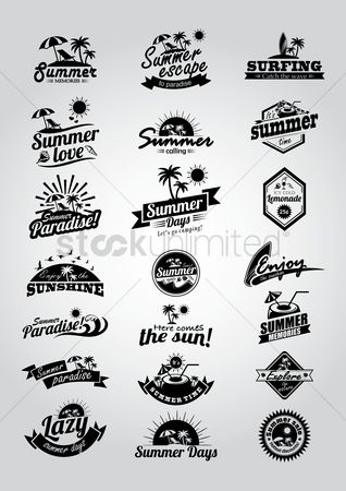 Season : Set of summer labels