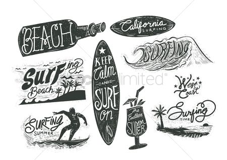 Summer : Set of surfing beach typographies