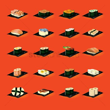 Japanese cuisines : Set of sushi rolls