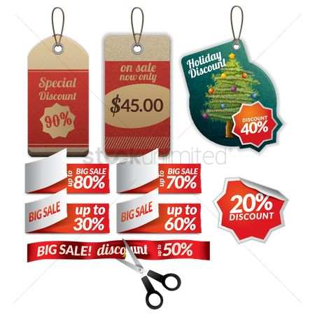 Discounts : Set of tags and stickers