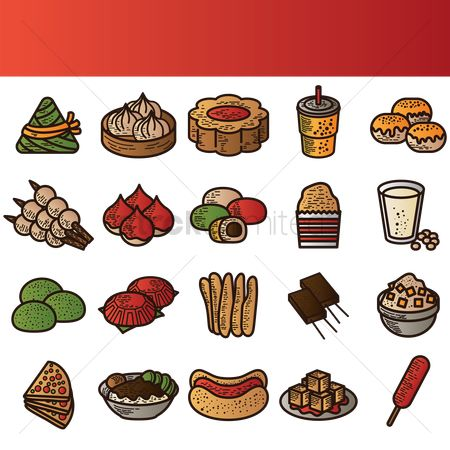 Soup : Set of taiwanese food icons