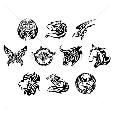 Hawks : Set of tattoo icons