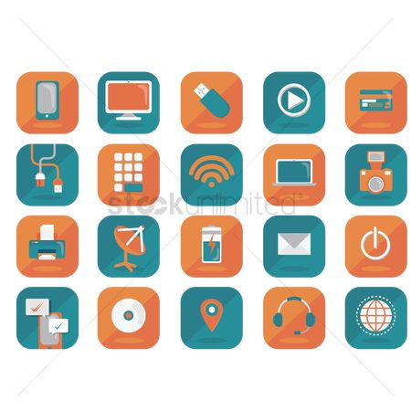 Power button : Set of technology icons