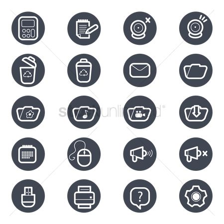 Mouse pad : Set of technology icons