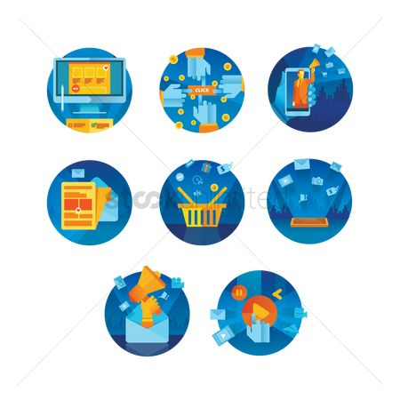 Online shopping : Set of technology icons