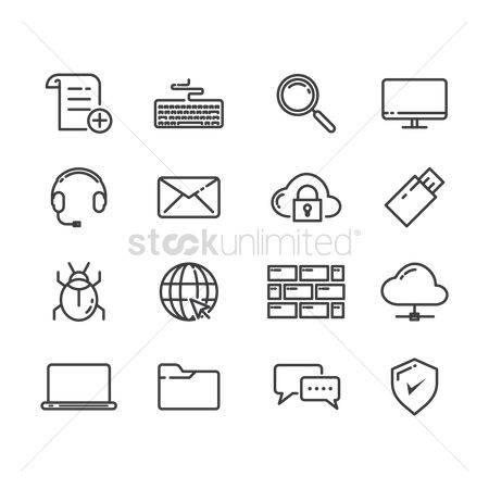 Multimedias : Set of technology icons