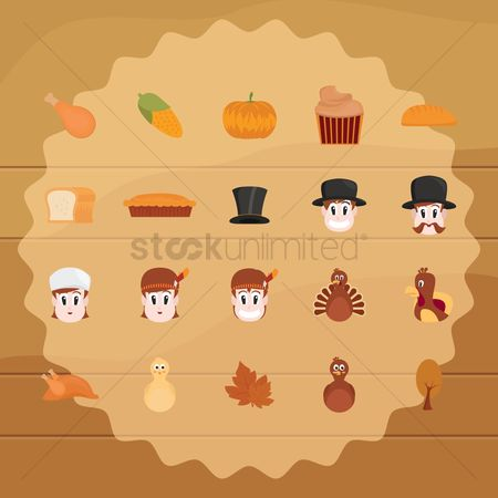 Chicken piece : Set of thanksgiving icons