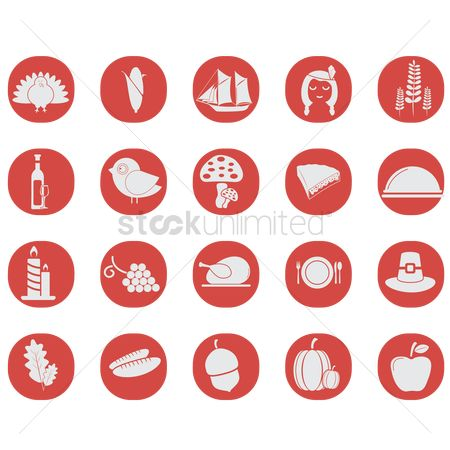 Wheats : Set of thanksgiving icons
