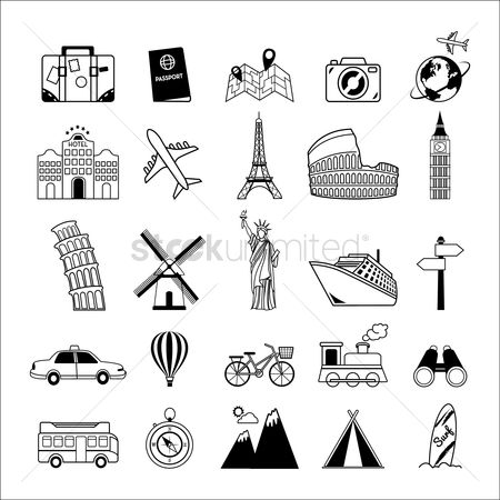 Monuments : Set of travel icons
