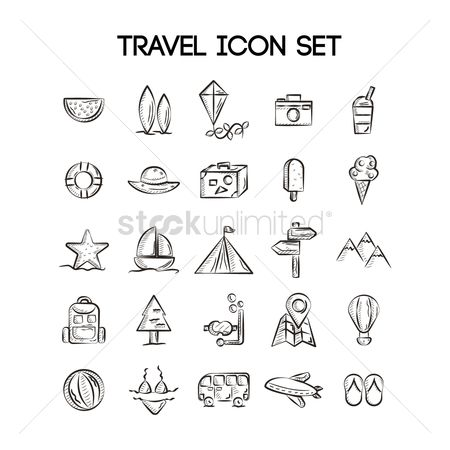 Swimsuit : Set of travel icons