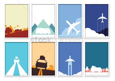 Aeroplanes : Set of traveling posters