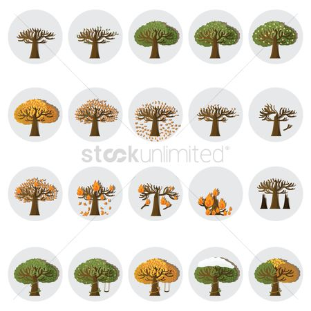Falling : Set of tree icons