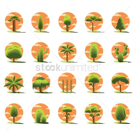 Beach : Set of tree icons