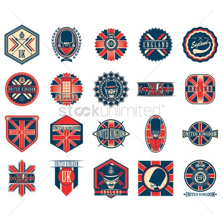 Patriotic : Set of uk retro labels