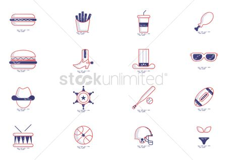 French fries : Set of united states of america icons