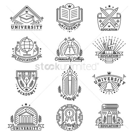 Insignia : Set of university logo elements