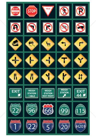 Caution : Set of us road signs