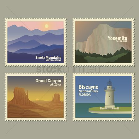 United states : Set of usa landmarks postal stamp