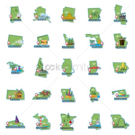Navigators : Set of usa maps icons