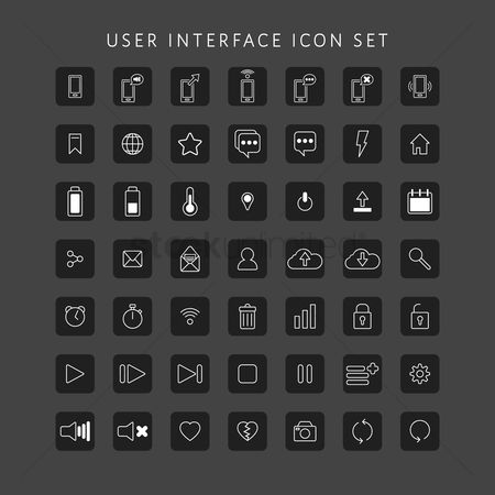 Power button : Set of user interface icons
