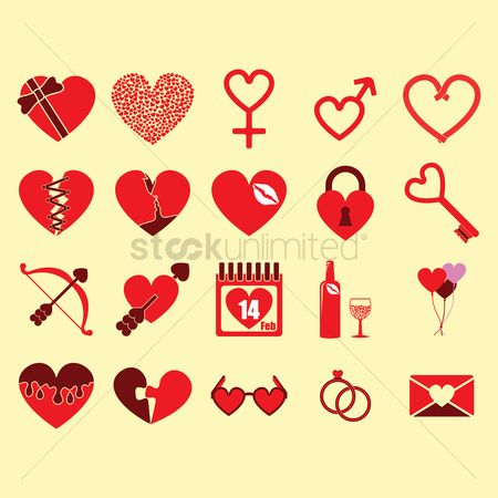 Drips : Set of valentine s day icons