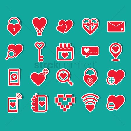 Love speech bubble : Set of valentine s day icons