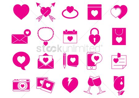 Weddings : Set of valentines day icons