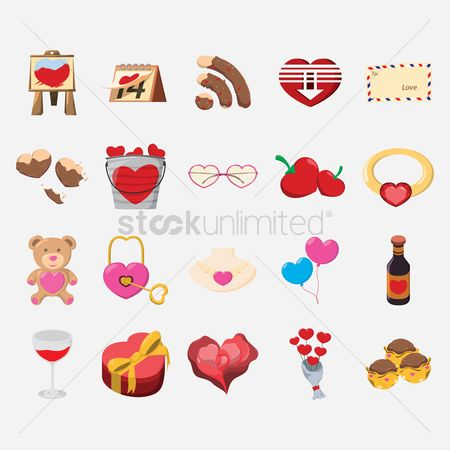 Wifi : Set of valentines day objects