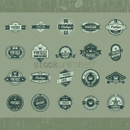 Products : Set of vintage labels