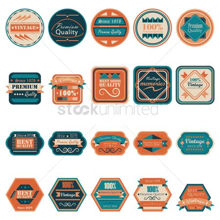 Insignia : Set of vintage quality labels