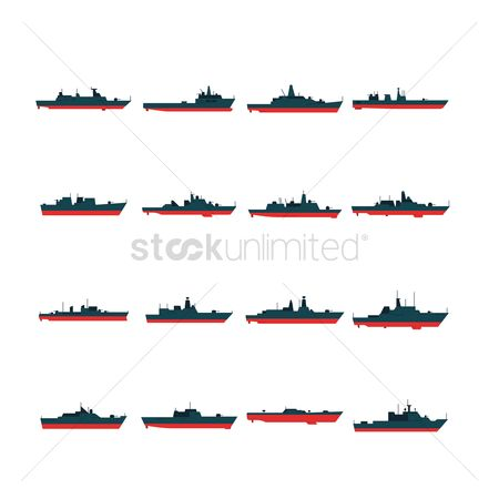 Nautical : Set of warship icons