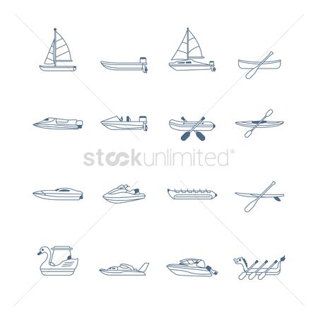 Vessel : Set of water vessel icons