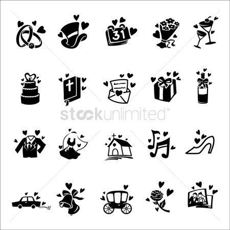 Transport : Set of wedding icons