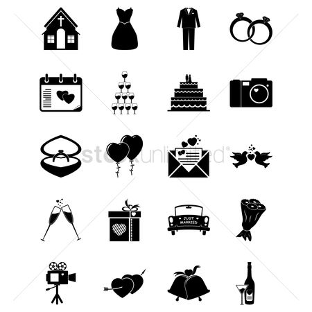 Boxes : Set of wedding icons