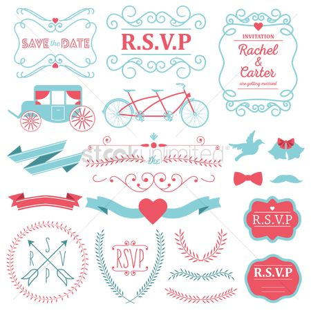 Transport : Set of wedding invitation designs