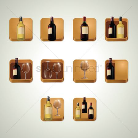 Liquor : Set of wine bottles and glasses