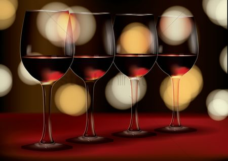 Alcohols : Set of wine glasses