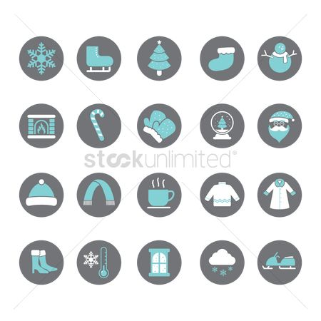 Santa : Set of winter icons