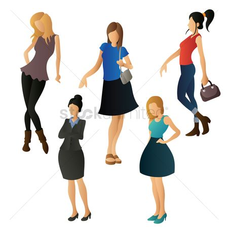 Posing : Set of women in different clothings