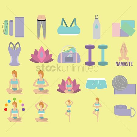 Dumb bell : Set of yoga icons