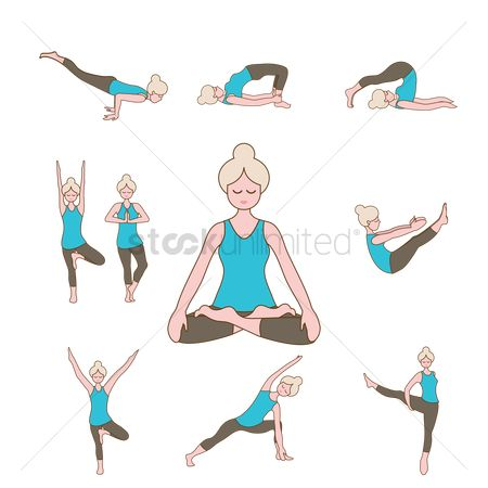 Standing : Set of yoga icons