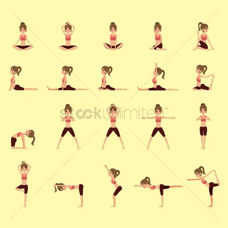 Cow : Set of yoga icons