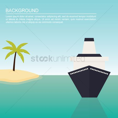 Journeys : Ship and tree on beach background