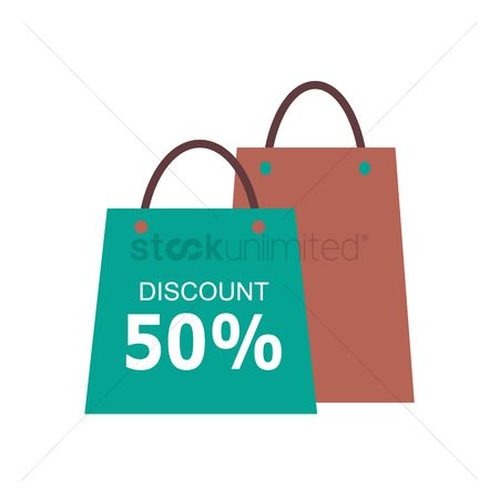 E commerces : Shopping bags with 50 percent discount sign