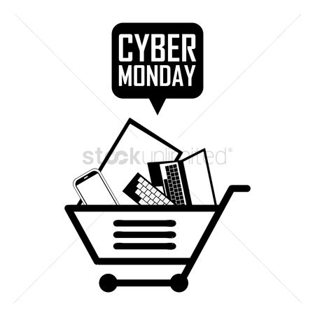 Terms : Shopping cart with cyber monday speech bubble